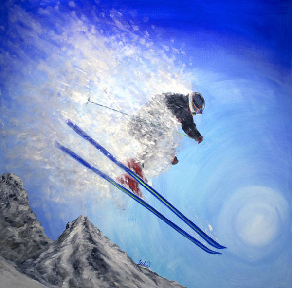 Skiing Painting - Epic Day by Teshia Art
