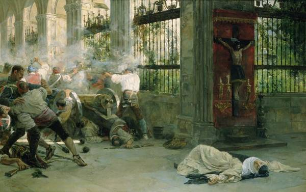 Cloister Photograph - Episode From The War Of Independence, 1892 Oil On Canvas by Eugenio Alvarez Dumont