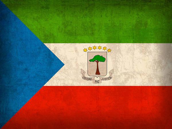 Emblem Mixed Media - Equatorial Guinea Flag Vintage Distressed Finish by Design Turnpike