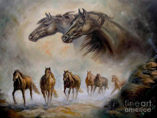 Wall Art - Painting - Equestrian Horse Painting Distand Thunder by Regina Femrite