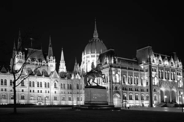Photograph - Equestrian Statue And Hungarian Parliament Bw by Joan Carroll