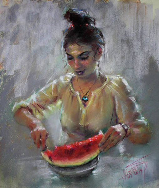 With Wall Art - Pastel - Erbora With Watermelon by Ylli Haruni