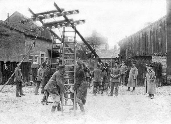 Photograph - Erecting Telegraph Poles by Underwood Archives