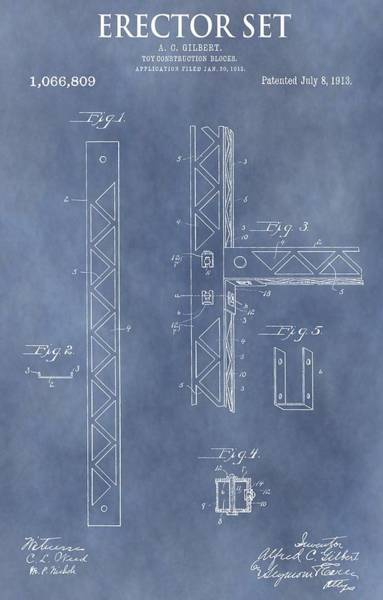 Toy Mixed Media - Erector Set Patent by Dan Sproul