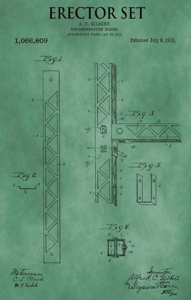 Wall Art - Mixed Media - Erector Set Patent Green by Dan Sproul