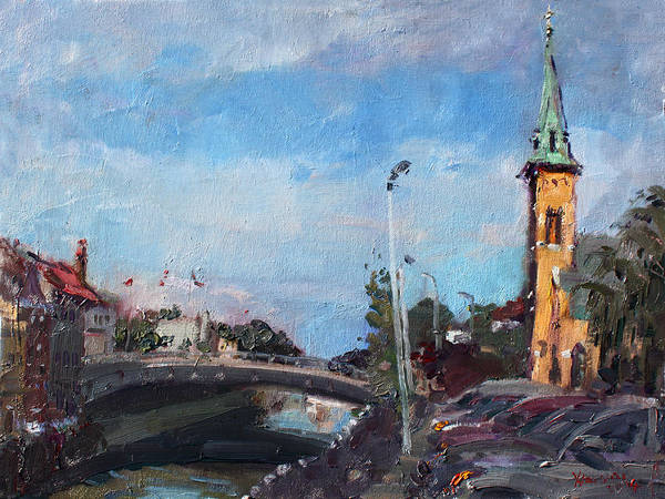Church Painting - Erie Canal In Lockport by Ylli Haruni
