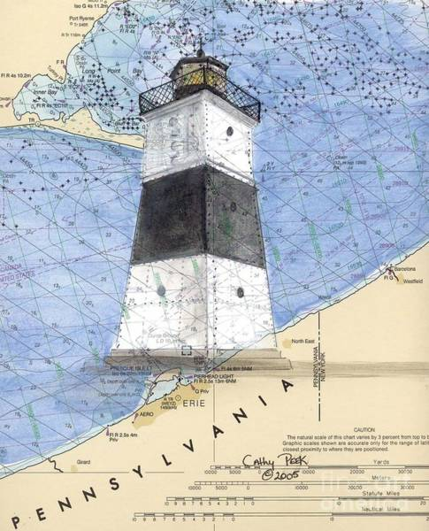 Cathy Painting - Erie Harbor Lighthouse Pa Nautical Chart Map Art Cathy Peek by Cathy Peek