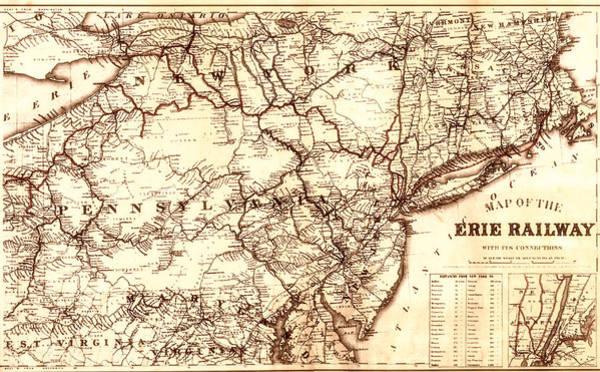Contour Map Photograph - Erie Railway 1869 by Mountain Dreams