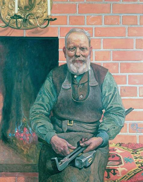 Apron Wall Art - Painting - Erik Erikson The Blacksmith by Carl Larsson