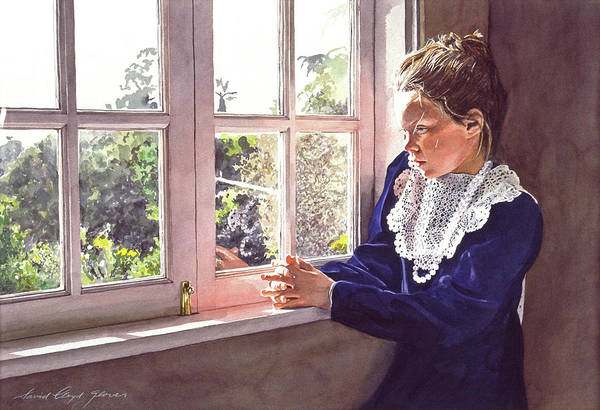 Lace Painting - Erin Foster Waiting For Daddy by David Lloyd Glover