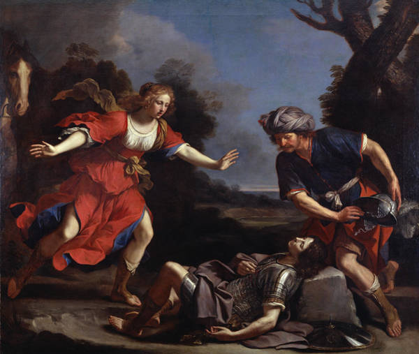 Baroque Photograph - Erminia Finding The Wounded Tancredi Oil On Canvas by Guercino