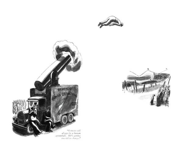 July 1st Drawing - Ernesto Will Always Be A Human Cannonball. He's by Robert J. Day
