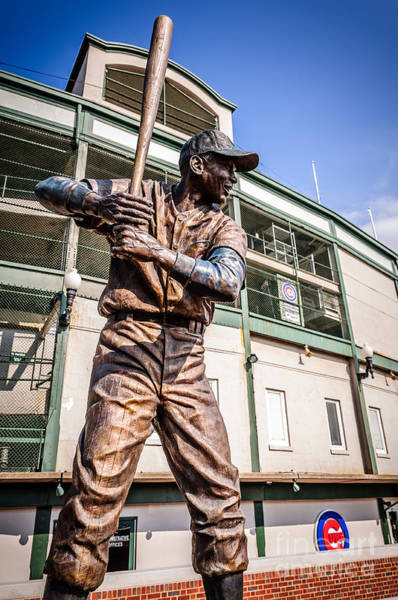 Bat Man Photograph - Ernie Banks Statue At Wrigley Field  by Paul Velgos