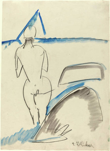 Bather Drawing - Ernst Ludwig Kirchner, Bather On The Beach by Litz Collection