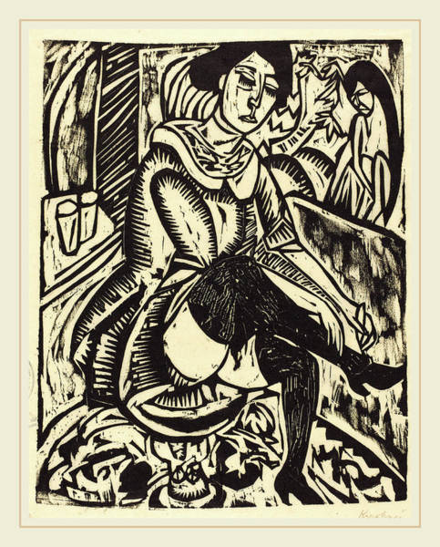 1880 Drawing - Ernst Ludwig Kirchner, Woman Tying Her Shoe Frau by Litz Collection