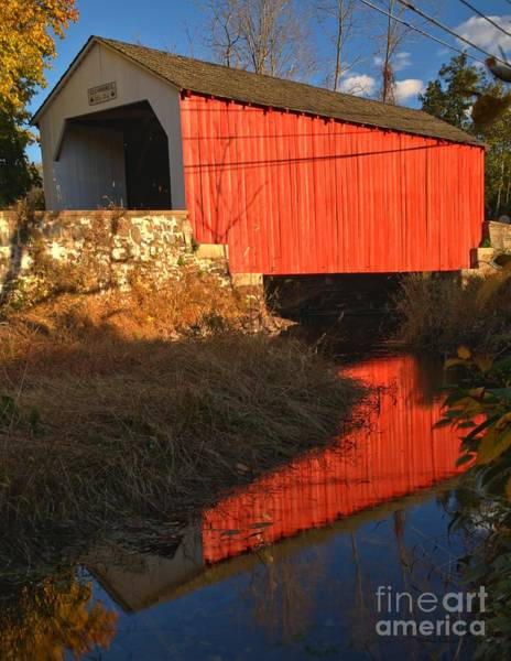 Photograph - Erwinna Covered Bridge Over Swamp Creek by Adam Jewell