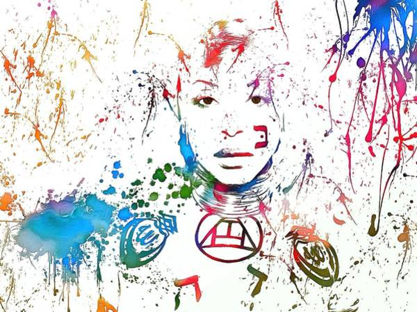 Wall Art - Painting - Erykah Badu Paint Splatter by Dan Sproul