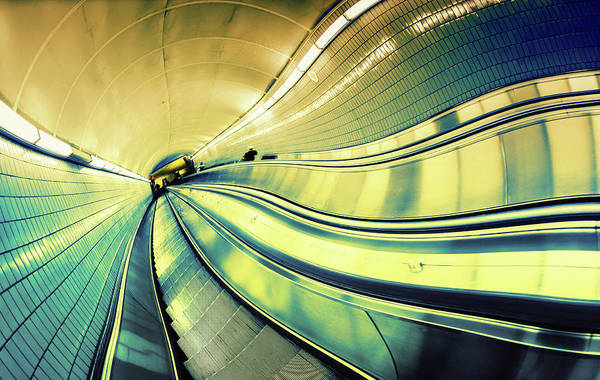 Unusual Perspective Wall Art - Photograph - Escalator Going Down by Moreiso
