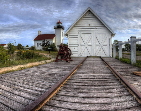 Escanaba Lighthouse And Boat House Art Print