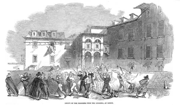 Wall Art - Drawing - Escape Of Prisoners From The  Limoeiro by  Illustrated London News Ltd/Mar