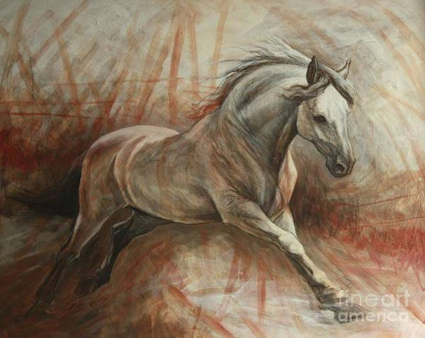 White Horse Wall Art - Painting - Escape by Silvana Gabudean Dobre