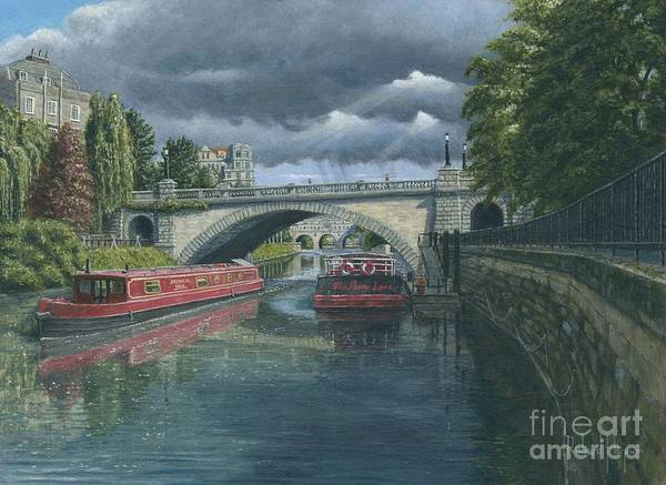 Narrow Boat Wall Art - Painting - Escaping The Storm by MGL Meiklejohn Graphics Licensing