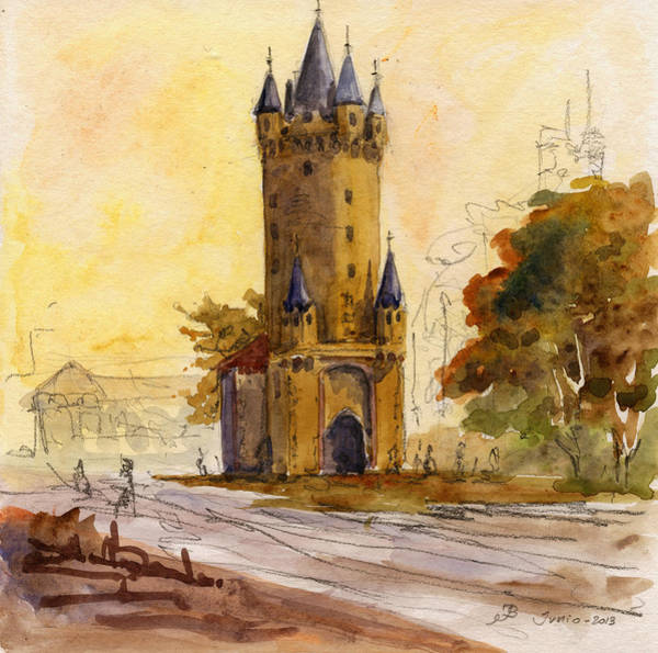 Wall Art - Painting - Eschenheimer Turm by Juan  Bosco