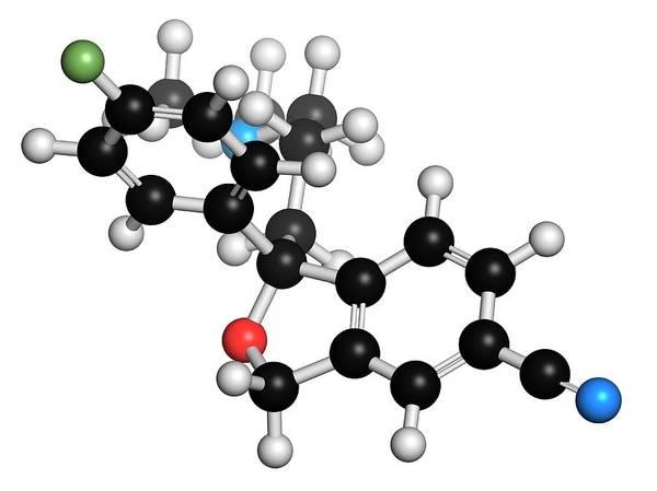 Psychiatry Photograph - Escitalopram Antidepressant Drug Molecule by Molekuul