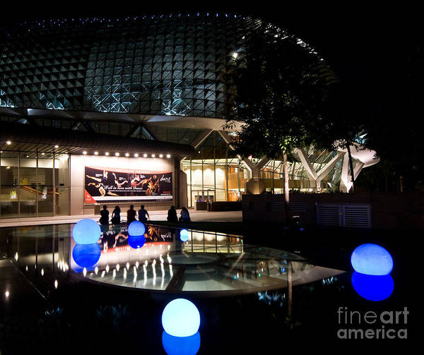 Photograph - Esplanade Theatres At Night 05 by Rick Piper Photography