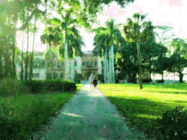 Mansion Mixed Media - Estate Grounds by Florene Welebny