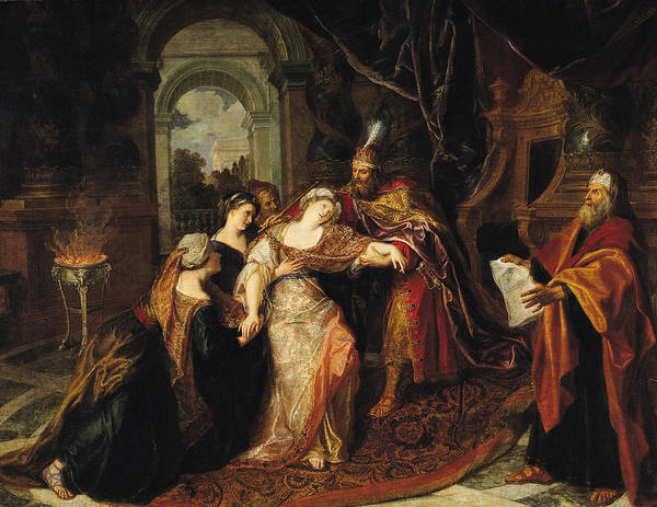 Concern Photograph - Esther Before Ahasuerus, Before 1697 Oil On Canvas by Antoine Coypel
