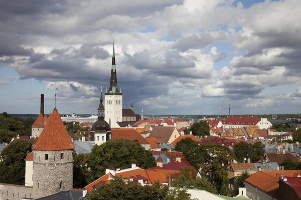 Alfresco Wall Art - Photograph - Estonia, Tallin, Overview Of The Old by Tips Images