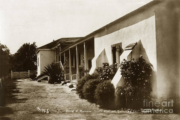 Photograph - Estudillo Hacienda Adobe And Ramona's Wedding Place San Diego Ca.1890 by California Views Archives Mr Pat Hathaway Archives