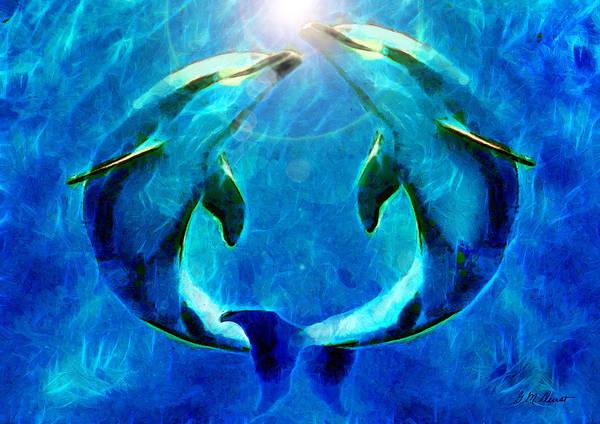 Mammal Mixed Media - Eternal Dolphin Love by Michael Durst