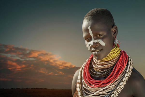 Shirtless Photograph - Ethiopia, Omo Valley, Karo Woman by Buena Vista Images