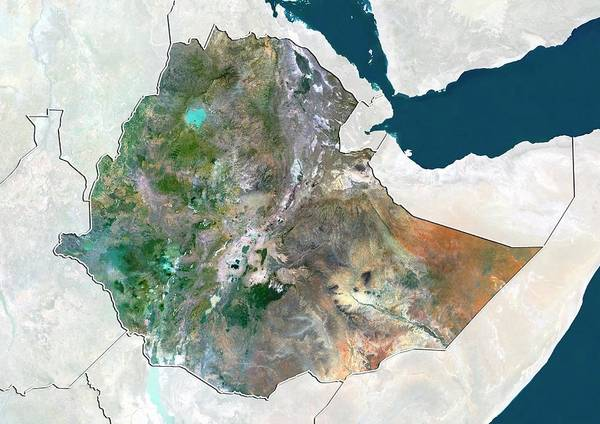 Landsat 7 Wall Art - Photograph - Ethiopia by Planetobserver/science Photo Library
