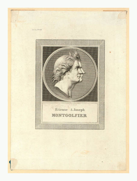 Gold Medal Drawing - Etienne & Joseph Montgolfier, Bust-length Double Profile by English School