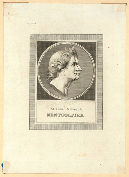 Gold Medal Drawing - Etienne & Joseph Montgolfier, Bust-length Double Profile by Litz Collection