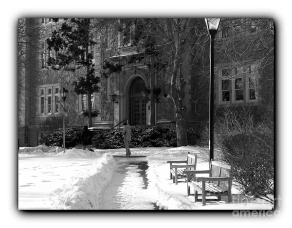 Muhlenberg Photograph - Ettinger Snow Scene - Border Bw by Jacqueline M Lewis