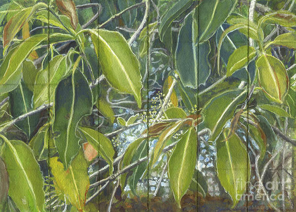 Far North Queensland Wall Art - Painting - Euca - Leaves Section by Kerryn Madsen-Pietsch