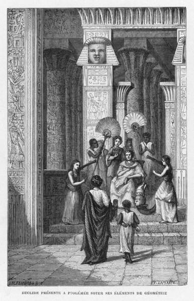 Wall Art - Drawing - Euclid Presenting To Ptolemy Soter by Mary Evans Picture Library