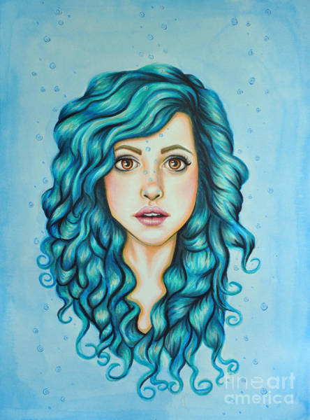 Teal Drawing - Eudora by Lucy Stephens