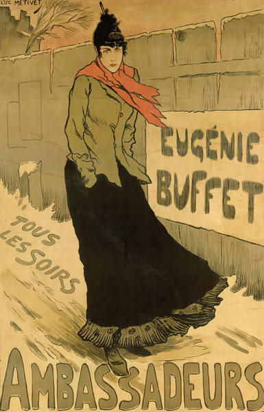 Scarf Drawing - Eugenie Buffet Poster by Lucien Metivet