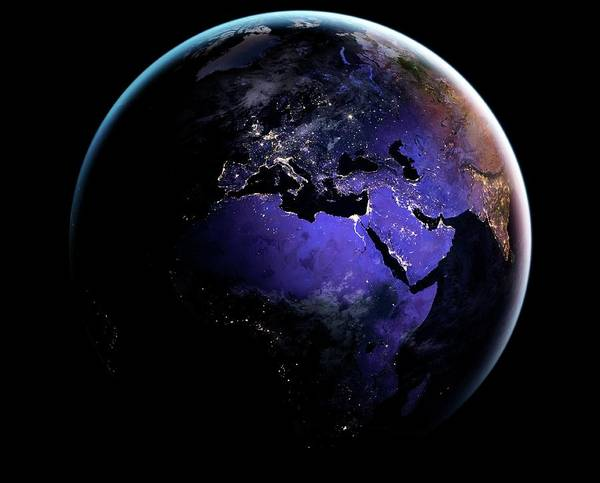 Earth Observation Wall Art - Photograph - Eurasia And Africa At Night by Nasa Earth Observatory/joshua Stevens/miguel Roman/gsfc/science Photo Library