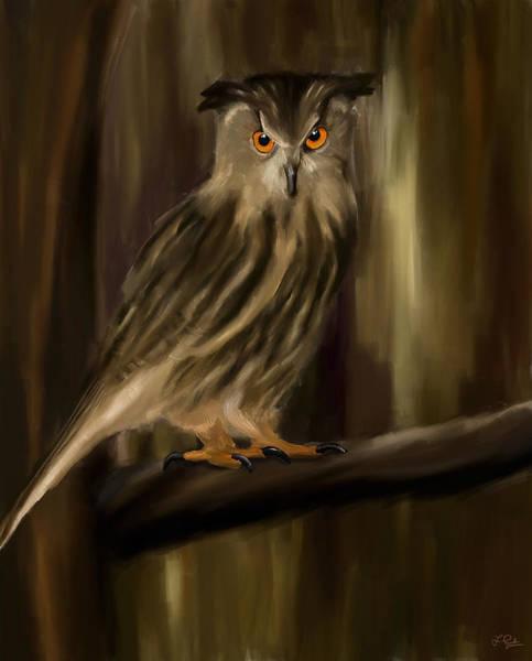 Owl Painting - Eurasian Owl Look by Lourry Legarde