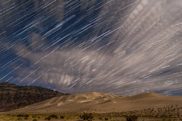 California Adventure Photograph - Eureka Dunes Star Trails by Cat Connor