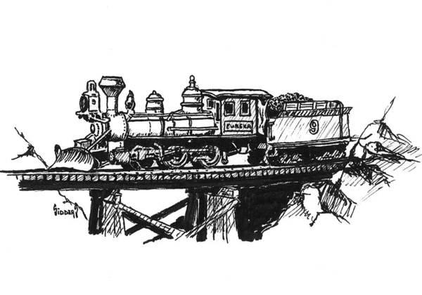 Trains Drawing - Eureka Loco by Sam Sidders