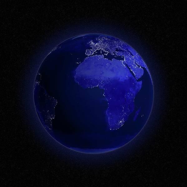 Square Digital Art - Europe And Africa At Night, Artwork by Andrzej Wojcicki