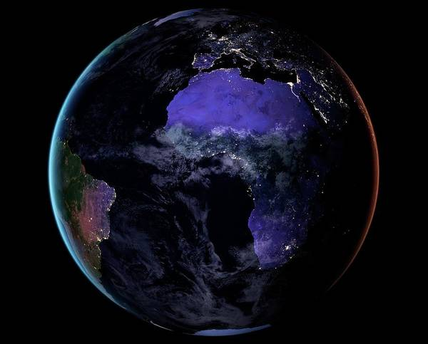 Earth Observation Wall Art - Photograph - Europe And Africa At Night by Nasa Earth Observatory/joshua Stevens/miguel Roman/gsfc/science Photo Library