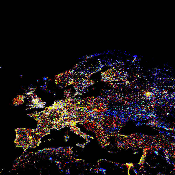 Photograph - Europe At Night by Noaa/science Photo Library